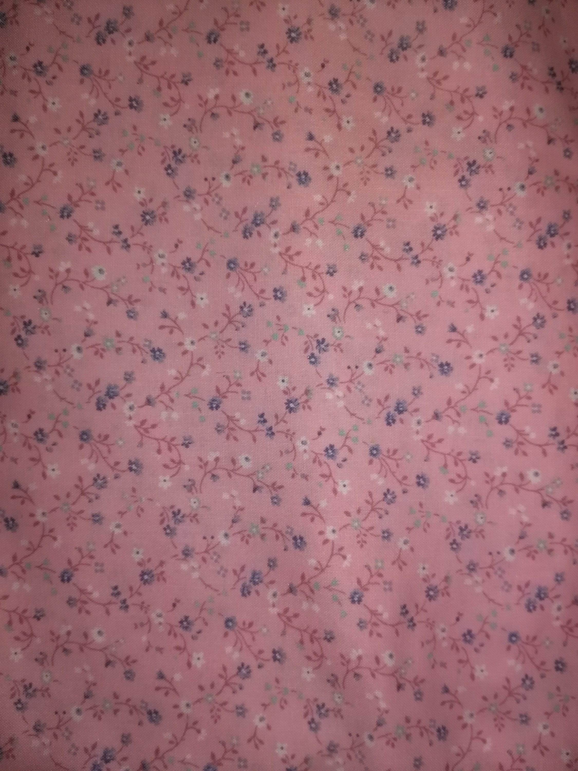 Pink Cotton Fabric With Blue And White Flowers Etsy