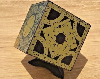 Hellraiser Puzzle Box With Cube Stand - Foil Face Solid Wood Pinhead Clive Barker Horror Prop Lament Configuration