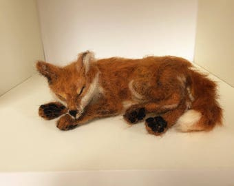 Now Sold ...Needle felted fox...taking a nap !!!