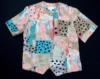 Vintage Abstract Blouse sz medium