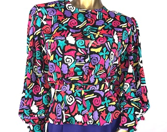 Vintage Abstract Peplum Blouse sz 16