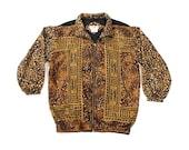 Vintage leopard Silk Windbreaker Sz. Sm