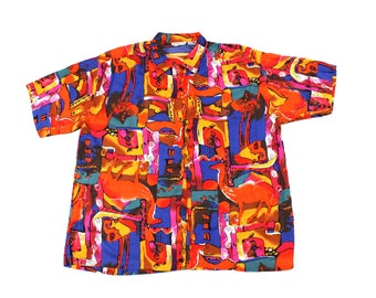 Vintage Abstract Colorful Blouse