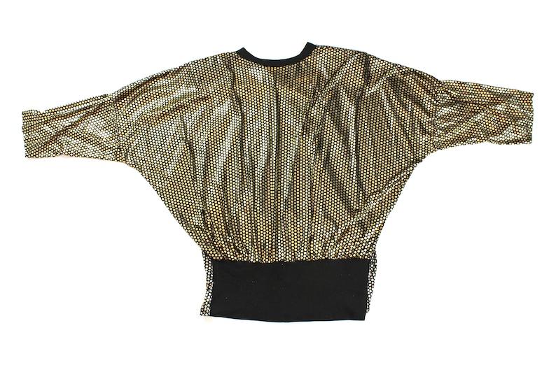 Sz.Med Vintage Womens Polka-Dot Gold Metallic Blouse.