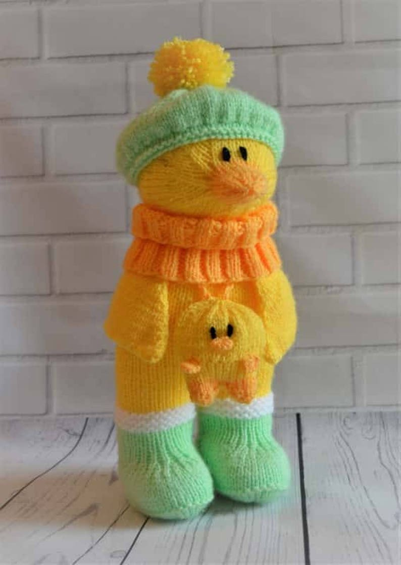 5404b58a6632 KNITTING PATTERN Duck in Boots Soft Toy Knitting Pattern