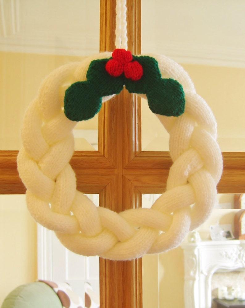 Knitting Pattern Simple Christmas Wreath Knitting Pattern Etsy