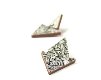 White Earrings - Mountain Earrings - Wooden Earrings - Triangle Earrings - Stud Earrings - Hipster Jewelry - Urban Earrings - Gift for Her