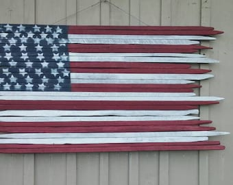 "Rustic American flag handmade with vintage tobacco sticks 56""X31""  50 stars and 13 stripes, Americana wall decor, wedding decor, headboard"