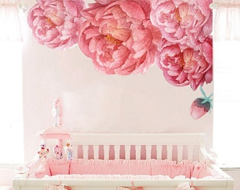 45430dcd988 Peony Flowers Wall Sticker. Peony Wall Decal Nursery. Floral Watercolour Flower  Wall Decals. Peel and Stick Wallpaper Mural Removable vs125