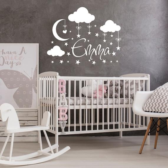 Personalisierte Name Wand Aufkleber Baby Wolken Abziehbilder Kinderzimmer Dekor Baby Name Wand Aufkleber Custom Name Aufkleber Mond Aufkleber Sterne