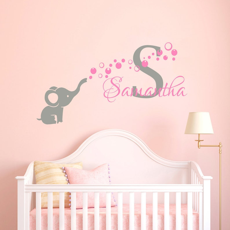 personalized name wall decal baby girl name decal elephant | etsy