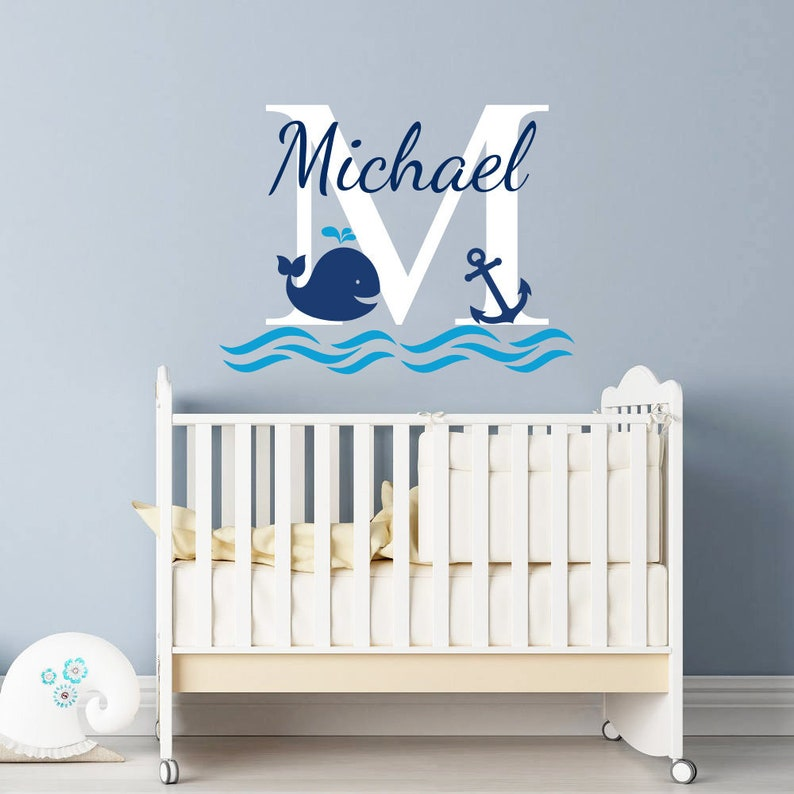 boys name wall decal / nursery baby boy room decor / whale | etsy
