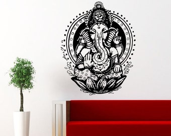 Ganesh Ganesha Elephant Lord of Success Hindu Hand God Buddha India Wall Vinyl Decal Design Interior Bedroom Decor Wall Sticker vs16