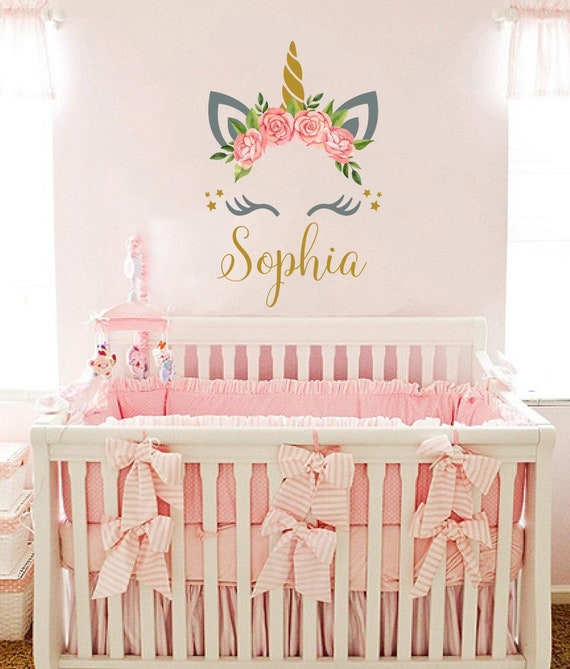 Personalized Wall Decal Girls Name Unicorn Sticker Flowers Colorful Custom  Name Decals Vinyl Decals Baby Girl Bedroom Nursery Decor vs116