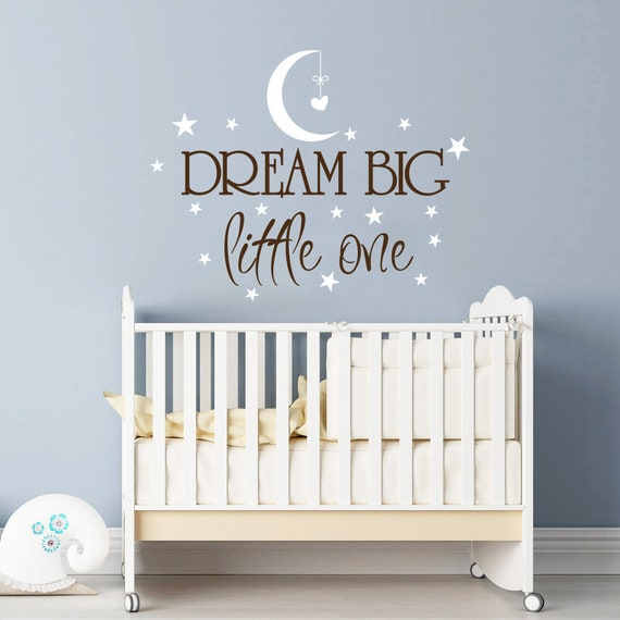 Charm Dream Big Little One Wall Sticker Decal Quote Nursery Bedroom Baby Kids