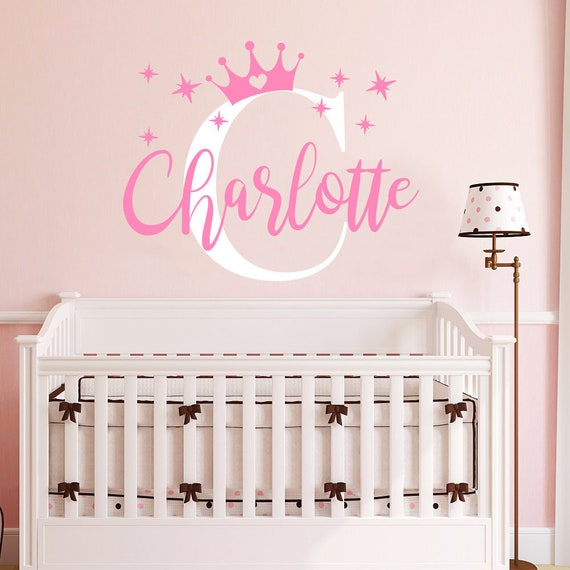 Crown Name Wall Decal Girls Princess Nursery Wall Decor Baby Girl Decals Baby Girl Room Wall Vinyl Sticker Nursery Personalized Name Vs130