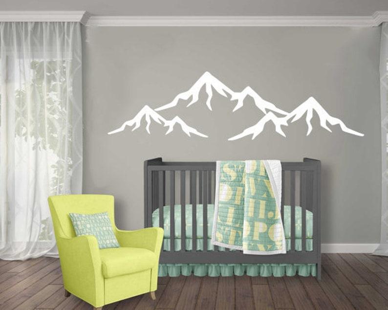 mountain wall decal nursery wall decor baby wall decal vinyl | etsy