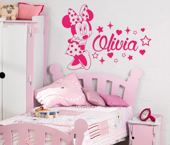 Minnie Mouse Wall Decal Name Vinyl Decals Sticker Custom Name Decals  Personalized Baby Girl Name Decor Bedroom Nursery Baby Room Decor vs66