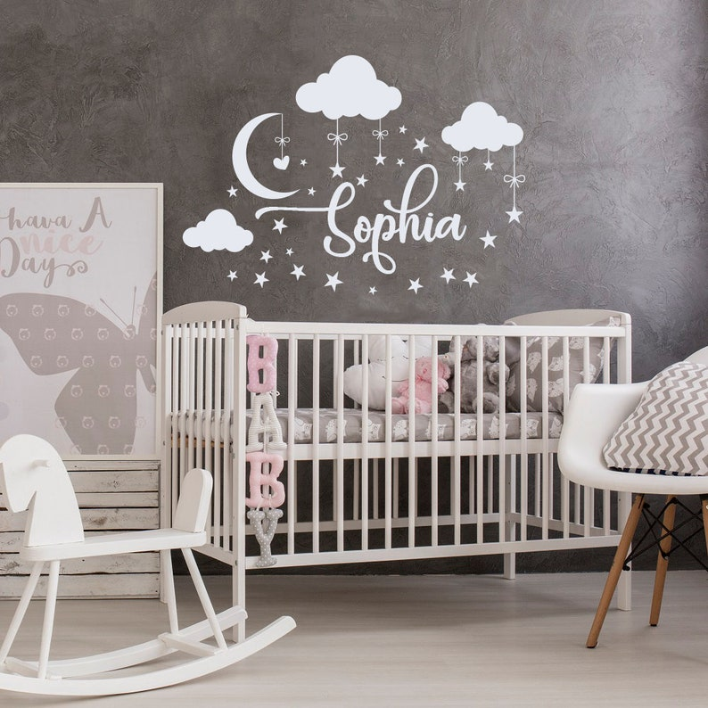 personalized name wall decal nursery decor baby clouds decals | etsy