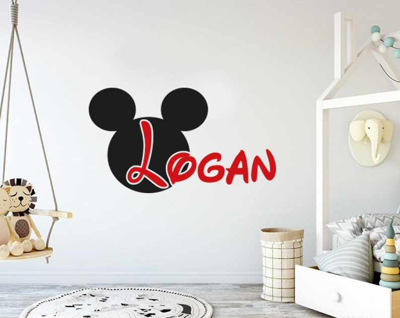 . Mickey Mouse Wall Decal Name Boy Personalized Name Wall Decor Nursery Baby  Boys Room Decor Children Kids Nursery Decal Vinyl Sticker vs77