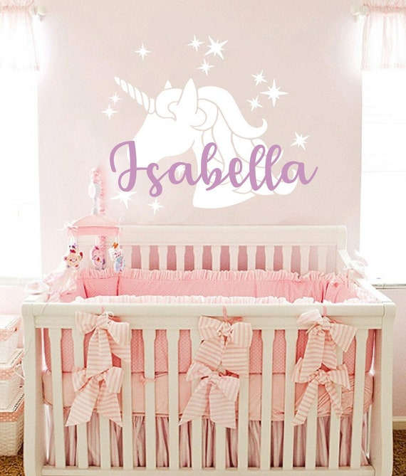 Personalized Wall Decal Girls Name Unicorn Sticker. Unicorn Vinyl Decals  Baby Girl Bedroom Custom Girl Name Decals. Nursery Girl Decor vs128