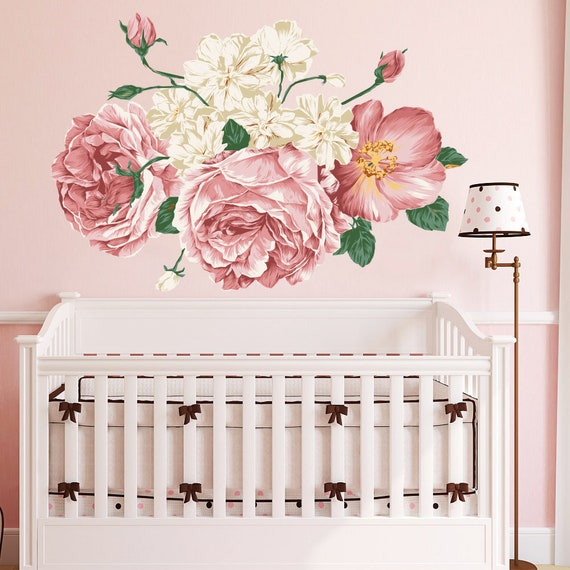 peony wall decal nursery. peony flowers wall sticker. floral | etsy