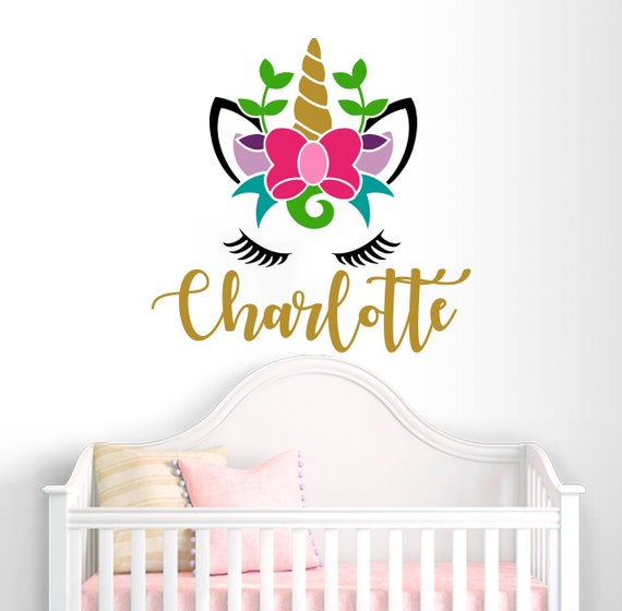 Personalized Unicorn Monogram Wall Decal Girls Name Sticker Colorful Custom  Name Decals Vinyl Decals Baby Girl Bedroom Nursery Decor vs115