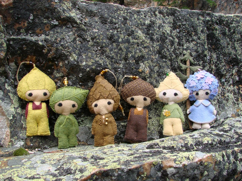 Felt Birch Doll Ornament #2 Embroidered Wool Felt Art Doll Nature Inspired Handmade Ornament *Ready to Ship