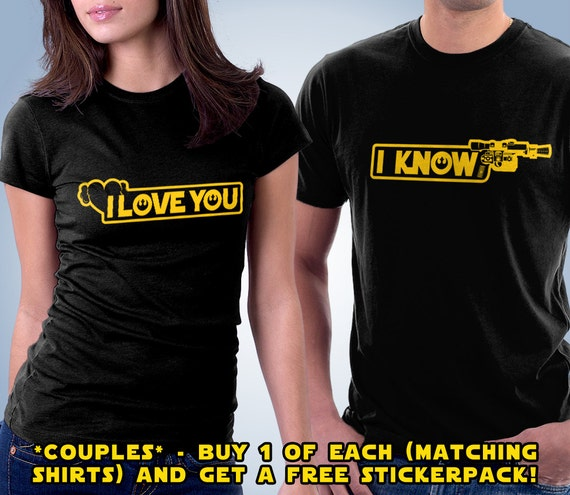 9988c8da98 I Love you / I Know Couples Matching Sci Fi Shirt His | Etsy