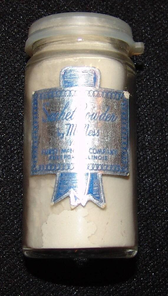 McNess Vtg Sachet poudre récipient en verre Vintage w / étiquette de papier d'aluminium en poudre 1/2 Oz