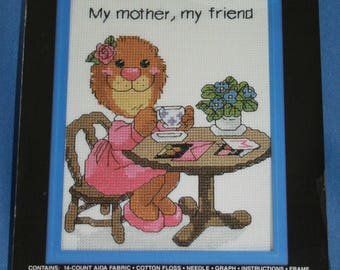 """My Mother My Friend Counted Cross Stitch Kit Janlynn Suzys Zoo NIP New 5"""" x 7"""" New Unopened"""