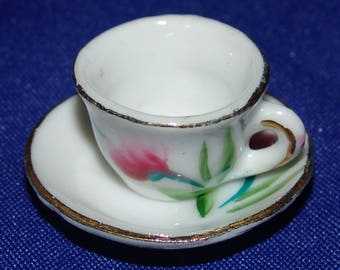 Miniature Porcelain Cup and Saucer Set Mini Japan Doll House Vintage Rose China