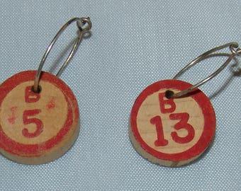 Bingo Chip Pierced Earrings Wood Wooden Vtg Jewelry Dangle