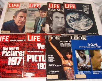 Vtg Magazines Life Look 1960s 1970s Lot 6 pcs Magazine Paul McCartney Year In Pictures Mel Gibson Liam Neeson