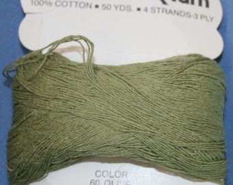 Vtg Lily Candle Wick Yarn 100% Cotton 50 yds 4 Strands 3 Ply Olive Color Craft New Bundle