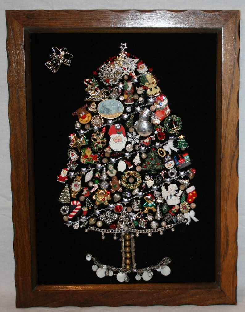 Costume Jewelry Christmas Tree Framed Art Artisan Large 22 Etsy