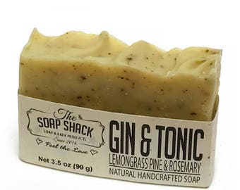 Natural Handmade Soap – Lemongrass, Pine and Rosemary Essential Oil, Ground Juniper berries for exfoliation - Experience Gin and Tonic!