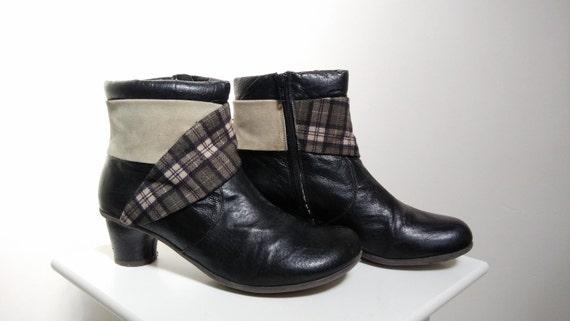 Women's Vintage Boots Sale 5 Boots US Boots Western 41 Ankle 9 Plaid Boots 7 UK Boots Casual EU Boots Boots Black Leather Boots FXxqwx7dA