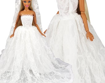 e8383af6b17e73 Barwa White Wedding Dress with Veil Evening Party Princess Gown Dress for  Barbie Doll