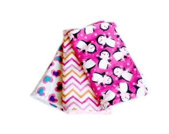 Newborn baby gift, 3 baby burp cloths, infant burp cloths, flannel burp cloths, terry burp cloths, pink burp cloths, penguin baby gift