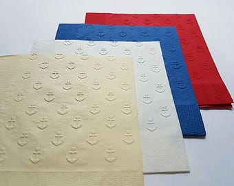 1 Dozen Anchor Embossed Paper Dinner Napkins 27 Colors Available