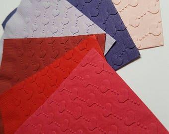 1 Dozen Heart Embossed Paper Dinner Napkins 27 Colors Available