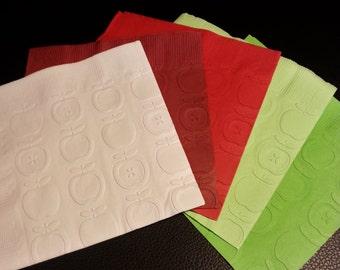 1 Dozen Apple Embossed Paper Dinner Napkins 27 Colors Available