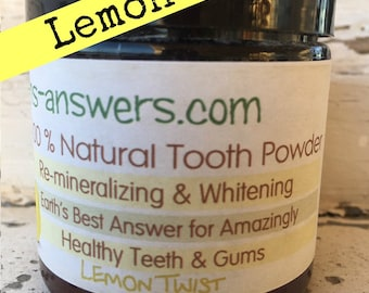 100% Natural Healing,  Re-Mineralizing and Whitening Tooth Powder Lemon Twist with Frankinsence and Myrrh