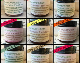 Remineralizing and Whitening Tooth Powder, 9 Flavors to Choose From, Cinnamon & Sage, Peppermint, Lemon and More