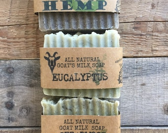 Gift for Men Goat Milk Trio Cedarwood, Hemp, Eucalyptus Natural Handmade Soaps.
