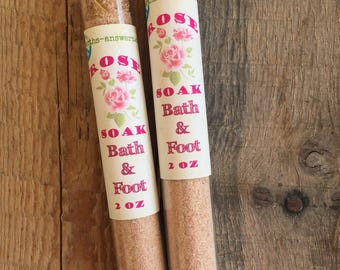 Two Rose Absolute Bath Salt Red Clay Pink Himalayan Sea Salt Bath Soak Foot Soak Detox Bath Glass Tubes with Cork