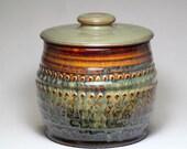 ceramic jar, small pottery canister, lidded jar, pottery treat jar