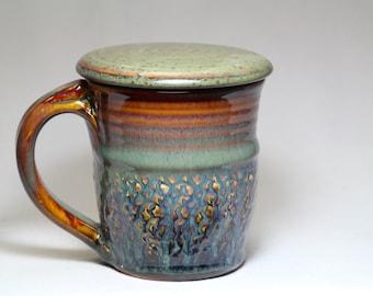 12oz stoneware pottery mug with lid