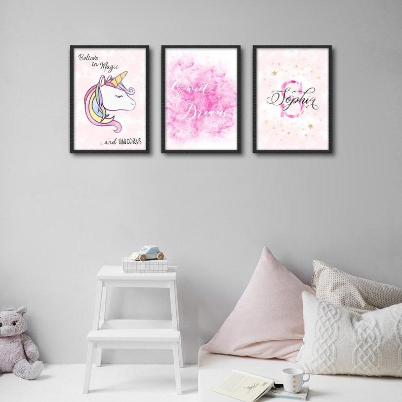 a826145e28697 Baby Girl Room Decor Nursery Decor Unicorn Room Decor Magic Unicorn Sweet  Dreams Name Monogram Watercolor Canvas Print Watercolor Art
